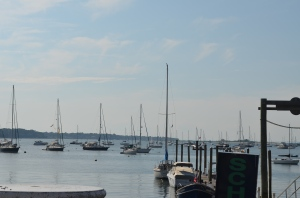 Vision Quest (center of pic) on a mooring ball at the Seatauket Yacht Club in Port Jefferson