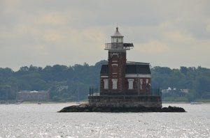 Last light house in Long Island Sound approaching Throggs Neck