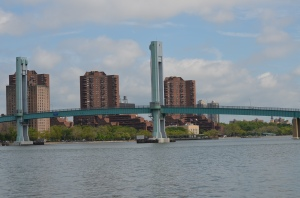 In Hell Gate at just past slack water looking north up the Harlem River-we turned south down the East River