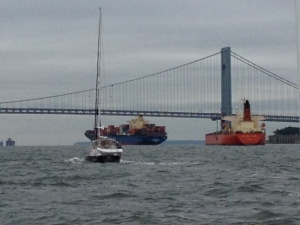 VQ going under the Verrazano Bridge