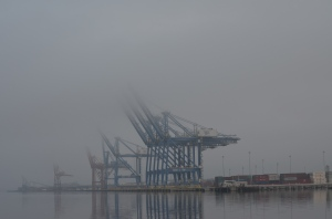 Cargo cranes in fog, Cape Fear River